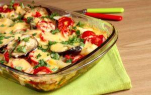 Баклажаны с помидорами и сыром рецепт